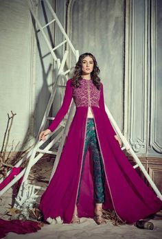 Buy Stunning Rani pink color georgette pant style party wear salwar kameez in UK, USA and Canada Indian Attire, Indian Ethnic Wear, Traditional Fashion, Traditional Dresses, Indian Wedding Outfits, Indian Outfits, Fashion Pants, Fashion Outfits, Trendy Outfits