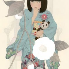 Japanese Art Styles, Grace Art, Modern Portraits, Painter Artist, Japanese Painting, Japan Art, Illustration Artists, Fabric Painting, Japanese Girl