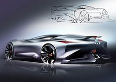 Infiniti has revealed the final images and details on the Concept Vision Gran Turismo, the virtual concept sportscar featured in the racing game. Car Design Sketch, Car Sketch, Supercars, Design Autos, Design Cars, New Luxury Cars, Industrial Design Sketch, Automobile, Car Drawings