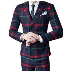 Red Chess Suit For Men (Jacket + Vest + Pants) 2018 New Wedding Party Men's Suits Costume Mariage Homme Men's Check British Styl. Yesterday's price: US $110.00 (93.68 EUR). Today's price: US $95.70 (81.50 EUR). Discount: 13%.