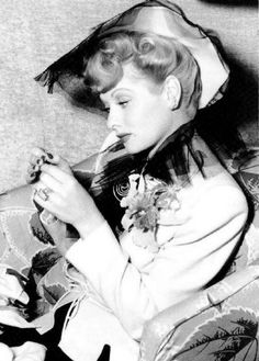 Lucille Ball knitting between takes