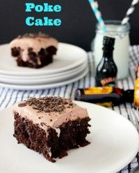 mud slide poke cake with a touch of booze