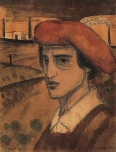Lajos Gulácsy, Self portrait in Italian landscape, 1902 Selfies, Painting & Drawing, Art Nouveau, Original Artwork, Auction, Antiques, Gallery, Drawings, Portraits