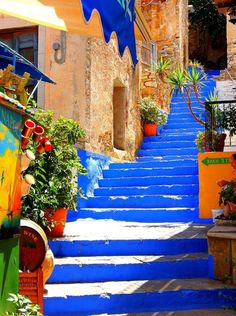 Beautiful blue steps in Santorini, Greece. Places Around The World, Oh The Places You'll Go, Places To Travel, Around The Worlds, Travel Destinations, Travel Tips, Travel Hacks, Travel Essentials, Solo Travel