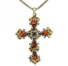 Colar longo dourado cruz laranja R$24,00
