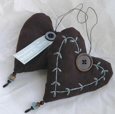 Chocolate brown linen hearts by Sue McLoughlin, via Flickr
