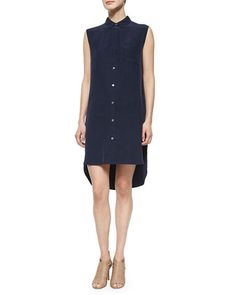 FRAME DENIM Le Sleeveless Button Down Sexy Casual Silk Shirt Tunic Dress $359 #FrameDenim #ShirtDress #Casual