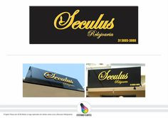 Projeto Placa em ACM Black e logo aplica em letras caixa ouro (Seculus Relojoaria)