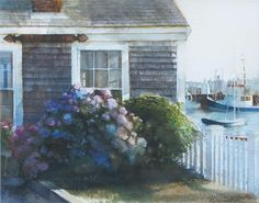 Artist: Marilyn Caldwell  Title: Cottage By The Harbor, Nantucket  Media: watercolor  Size: 11.25 X 14.5 inches Framed Size: 19.5 X 23.5 inches Estimate: $2,300-$2,800