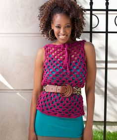 CROCHET -Trendy Top Overlay - Made this and it's totally cute and super easy. Watch out for the cotton yarn because it has a tendency to shrink. Have fun!