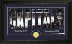 Washington Capitals letter art with home ice photo between the letters and minted team collector coin. #Caps