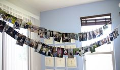 bridal shower decoration idea---hang up on clothesline picture of bride from baby to bridals!