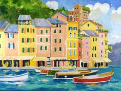 Oil painting of the Portofino Harbor, Portofino, Italy Colorful Artwork, Portofino Italy, Passion, Paintings, Oil, Inspiration, Italy, Paint, House