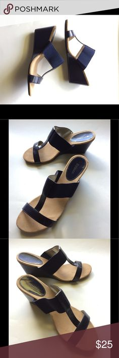 Navy Blue Style & Company Size 7M Wedges Sandal Gently preowned heels in clean navy blue great condition. Open Toes Time! Thank you for looking, we hope to serve you. Style & Co Shoes Wedges