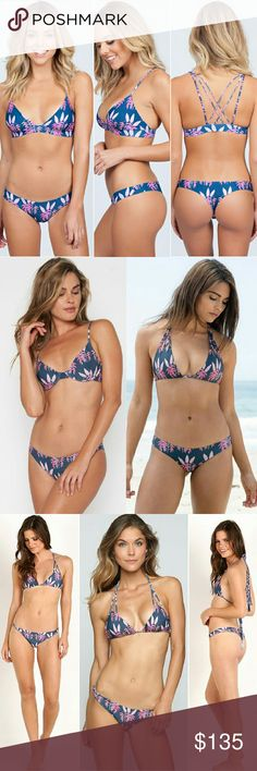 New Acacia heliconia ho'okipa bikini bottom swim M Brand new with tag, hygienic protection strip & still in original manufacturer's plastic. Hookipa cheeky bikini bottom in heliconia floral print by acacia swimwear. Medium. Bestselling navy blue with pink and purple hawaiian haleconia flower design from summer 2016 addition Hawai'i nei collection. The ho'okipa is acacia's signature thong cut. No trade please. The price is firm. Price reflects high percentage posh commission fees acacia…