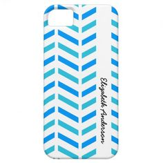 A fresh and trendy turquoise blue and white chevron stripes iPhone 5 Barely There Case. Personalize this hip and stylish contemporary zigzag pattern fashion accessory for women by adding your name.