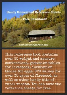 Handy Homestead Reference Sheets FREE DOWNLOAD!