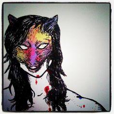 Wolf lady illustration