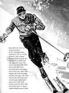 Vintage men's ski fashion. 1941 Lord and Taylor Christmas catalog.  Illustrator unknown.