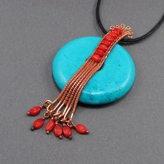 ~~Copper, Coral and Chalk Turquoise pendant by gailavira~~