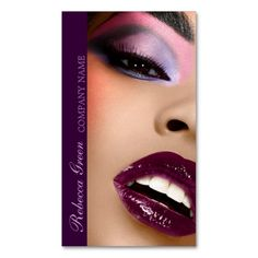 elegant purple lips Makeup Artist business Business Cards. Make your own business card with this great design. All you need is to add your info to this template. Click the image to try it out!