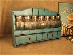 Shabby Spice Rack in Turquoise/Teal with Shaker by dewdropdaisies