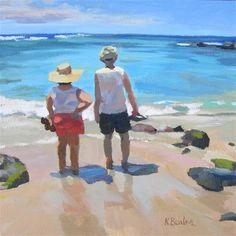 "Daily Paintworks - ""At the Beach"" - Original Fine Art for Sale - © Kaethe Bealer Human Sketch, Daily Painters, Beach Canvas, Beach Artwork, Fine Art Auctions, Fine Art Gallery, Figure Painting, Figurative Art, Watercolor Flowers"