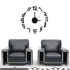 wandtattoo uhr mit pendel und futuristischer schrift. Black Bedroom Furniture Sets. Home Design Ideas