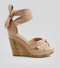 dcbeeb27b07 Pink Suedette Tie Up Ankle Cork Wedge Heels