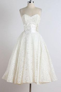 1950S Vintage Ball Gown Beach Wedding Dresses Sweetheart Lace Mini Short Brdial Gowns