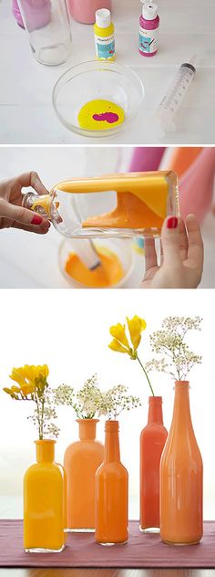 PAINT bottles to get amazing vases