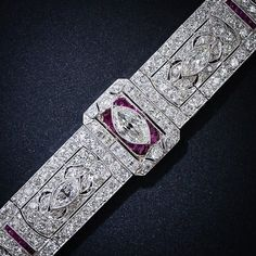 Art Deco Diamond and Ruby Bracelet - Circa 1925