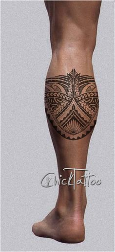 Polynesian Style Calf Tattoo Design
