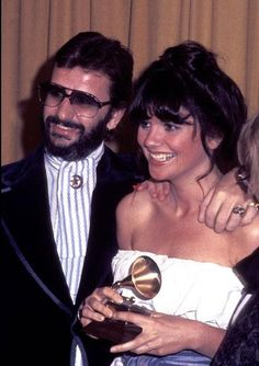 Beatle Ringo Starr poses with Grammy winner Linda Ronstadt at the Grammy awards in 1977.