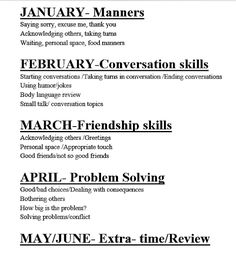Rotation Description: Social Skills curriculum map