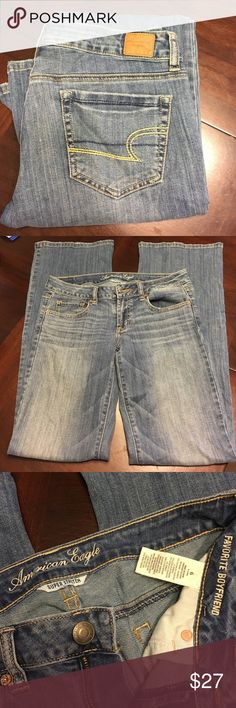 AE Super Stretch Favorite Boyfriend 6 Extra Long American Eagle super stretch favorite boyfriend jeans. Size 6 x-long. Medium wash, these are sooo soft and comfy!  Worn only a few times. American Eagle Outfitters Jeans Boyfriend