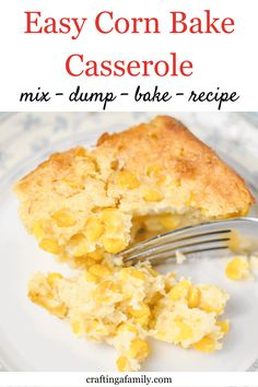 Super simple delicious Corn Bake Casserole side dish. Sweet corn, creamy most cornbread texture. Your family will love this mix, dump and bake side dish at every party and holiday dinner. Thanksgiving Dinner Recipes, Thanksgiving Sides, Holiday Dinner, Baked Corn Casserole, Casserole Recipes, Side Salad Recipes, Healthy Vegetable Recipes, Dinner Recipes Easy Quick, Sweet Corn