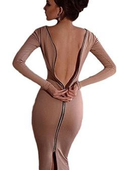 Smile YKK Nightclub Backless Zipper Knit Long Sleeve Bodycon Dress Apricot M. Material: Cotton Blend. Asia Size: S: Bust:88cm, Length:120cm, Waist:70cm, Hip:94cm, Shoulder:37cm, Sleeve:59cm;M: Bust:92cm, Length:121cm, Waist:74cm, Hip:98cm, Shoulder:38cm, Sleeve:60cm;L: Bust:96cm, Length:122cm, Waist:78cm, Hip:102cm, Shoulder:39cm, Sleeve:61cm;XL: Bust:100cm, Length:123cm, Waist:82cm, Hip:106cm, Shoulder:40cm, Sleeve:62cm. Shows your perfect curves,shows your charm and sexiness. Occasion…