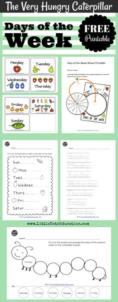 Download free days of the week flashcards, wheel and activities for preschool, pre-k and kindergarten class. These printables are based on The Very Hungry Caterpillar preschool theme. Visit www.LittleDotsEducation.com for more preschool resources