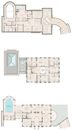 Floor plan of all levels of English estate home. Located at St George's Hill, Weybridge, Surrey. Square footage not available.