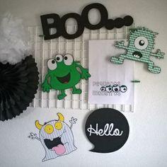 "They are funny 😜 happy 😁 little green monsters 💚💚 Cardboard Green Monsters - 22*25/19*23/20*26cm  Black Cardboard ""Hello"" - 21*20,5cm  Black Glitter Sticker BOO... - 14*43cm  Black Iron Board - 40*60cm    #mywallsproject #handmade #littlemonsters #kidswalldecor #kidsroom #kidsinteriordesign #kidsroom #pequenosmonstros #quartodecriança #decoracaoinfantil #decoracaointeriores #decoracaodeparedes #decoracaocriativa"