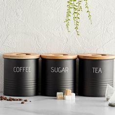 coffee, tea and sugar set – Decor Ideas Kitchen Canister Sets, Tea Canisters, Kitchen Canisters, Kitchen Storage, Kitchen Worktop, Tin Can Crafts, Diy And Crafts, Coffee Can Crafts, Furniture