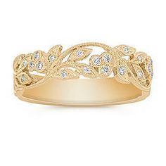 Leaves and diamonds ring