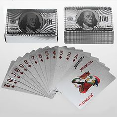 Silver Foil  Art Poker Plated Playing Cards US Dollar 5 sets lot