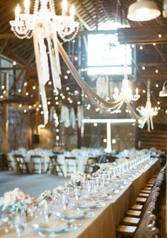 Wedding reception decorations ... Chandeliers , ribbon burlap and lace garlands ... Wedding rustic glamorous, vintage, country elegance, shabby chic, whimsical, boho