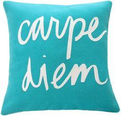 Carpe Diem Teal and White Pillow