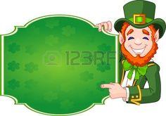 Gran ejemplo de una caricatura St. Patricks Day Leprechaun afortunado celebración de firmar foto