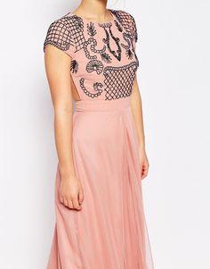 Image 3 ofMaya Petite Allover Embellished Maxi Dress With Open Back