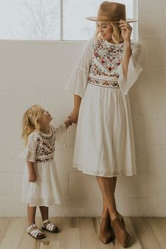 This modest embroidered white dress features elegant floral embroidery detail, bell sleeves, gathered elastic waist, and zipper back. Matching Mini style available at ROOLEE! Mom Daughter Matching Dresses, Mommy And Me Dresses, Mommy And Me Outfits, Modest Dresses, Modest Outfits, Stylish Outfits, Cute Dresses, Bride Dresses, Modest White Dress