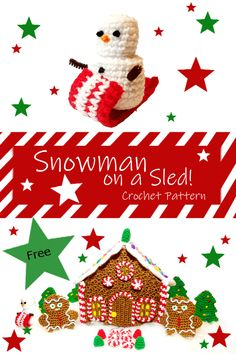 Crochet Amigurumi Christmas Snowman S'more the Sledding Snowman! Crochet Christmas Gifts, Christmas Items, Crochet Gifts, Christmas Snowman, Christmas Crafts, Christmas Decorations, Christmas Ornaments, Knit Crochet, Crochet Snowman